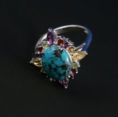 6.48CTW Genuine Turquoise & Multistone 925 Sterling Silver Ring Rhodium Plated