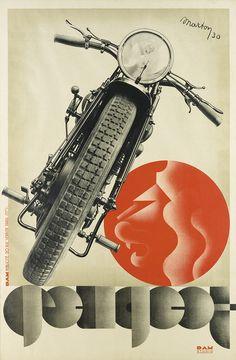 LAJOS MARTON (1891-1952) PEUGEOT. 1930. 46 1/4x30 3/4 inches, 117 1/2x78 cm. DAM Publicite, Paris.
