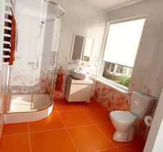 Simple Bathroom Color Trends 2012 - All white bathroom with colored floor only Orange Bathrooms Designs, New Bathroom Designs, Bathroom Interior Design, Modern Bathroom, White Bathroom, Master Bathrooms, Simple Bathroom, Bathroom Wall Decor, Bathroom Colors