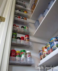 Dollar Tree Pencil drawer organizers screwed to the wall for extra pantry storage. Dollar Tree Pencil drawer organizers screwed to the wall for extra pantry storage. Organisation Hacks, Organizing Ideas, Kitchen Organization, Storage Organization, Storage Ideas, Craft Storage, Storage Hacks, Makeup Organization, Organizing A Pantry