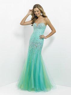 Trumpet/Mermaid Sweetheart Sleeveless Tulle Prom Dresses With Rhinestone#FJ835