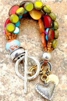 XO Gallery - Heart Charm Bracelet | Glass | Pearl | Multi-Strand | Boho | XO Gallery | XO Gallery