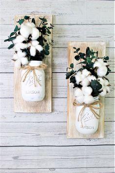 Set of 2  Cotton Pickin Blessed Mason Jar Wall Sconces Floral Arrangements