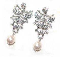 Pearl Bridal Earrings  vintage inspired clear by crisana01 on Etsy, $18.00