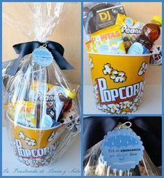 Adding the plastic gift wrap Diy Birthday, Birthday Presents, Movie Night Gift Basket, Pop Corn, Do It Yourself Inspiration, Little Presents, Theme Noel, Candy Bouquet, Original Gifts