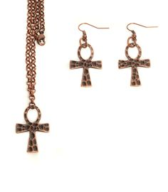 Hiroglif Necklace & Earring Set - Copper Colored - My Favorite Beads