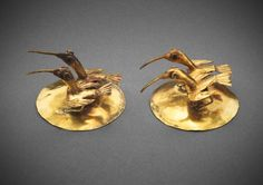 Ear Ornaments with Ibis, A.D. 1200/1450. Inca. Ica Valley, south coast, Peru.
