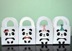 Set of 12 Mini Panda Gift Bags