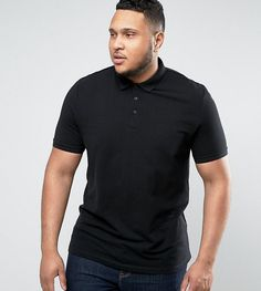 ASOS PLUS Pique Polo Shirt In Black - Black