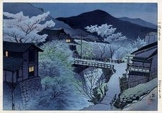 Ito Shinsui Ten Sights of Shinano: Late Spring Evening in Komoro, woodblock print, SOLD. Japanese Art Styles, Japanese Artwork, Japanese Modern, Japanese Painting, Japanese Prints, Kamakura, Japanese Countryside, Art Occidental, Art Japonais