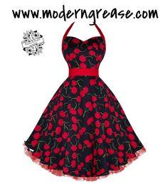 Big Cherry Black Red Halter Pinup Dress $49.99 #vintage #pinup #wedding #fashion #retro #rockabilly #pinup #1950