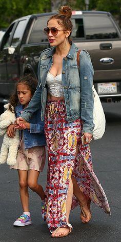 jennifer lopez fashion style | Jennifer Lopez in a McGuire Work Wear Jean Jacket shopping in ...