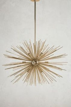 Astra Chandelier by Anthropologie in Gold, Lighting Hanging Furniture, Home Decor Furniture, Furniture Makers, Unique Lighting, Home Lighting, Lighting Ideas, Rustic Lighting, Kitchen Lighting, Pendant Chandelier