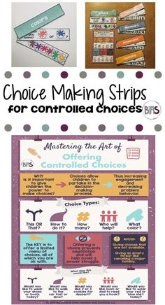 Giving your child the power to make choices is an important strategy for any parent. It allows children to have some control over their own lives. Which in turn can help you avoid those dreaded power struggles. With controlled choices, children are given a limited set of options, any of which you are ok with them choosing.  Use these strips to prompt communication, provide a visual support for choice making, or as a way to reduce the amount of prompting that you are providing your child.