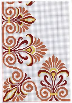 Não tenho a carta de cores, mas dá para fazer com as cores que desejarmos, bem. I don't have the color chart, but I can do it with the colors we want, as well as the width and the length. Cross Stitch Borders, Cross Stitch Flowers, Cross Stitch Charts, Cross Stitch Designs, Cross Stitching, Cross Stitch Embroidery, Hand Embroidery, Cross Stitch Patterns, Beading Patterns