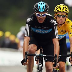 PEYRAGUDES, FRANCE - JULY 19: Chris Froome of Great Britain and SKY Procycling leads team mate and race leader Bradley Wiggins over the line on stage seventeen of the 2012 Tour de France from Bagneres-de-Luchon to Peyragudes on July 19, 2012 in Bagneres-de-Luchon, France. (Photo by Bryn Lennon/Getty Images)