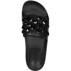 Loeffler Randall Cat Black Jewelled Leather Pool Slide Sandal ($64) ❤ liked on Polyvore featuring shoes, sandals, black shoes, black leather shoes, cat shoes, leather shoes and slide sandals