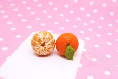 Tangerine Earrings, orange ear studs, orange earrings, Miniature Clementine earrings - The Jewel Saga  - 1
