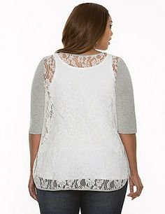 Trendy tee redefines femininity with a sheer lace back and high-low hem for breezy beauty all season long. Finished with a flattering V-neck and elbow length sleeves. Shown layered over the matching Essential Ribbed Tank (sold separately). lanebryant.com