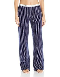 Tommy Hilfiger Women's Basic Pant, Monogram Diamond, Small. Stretchy Tommy Hilfiger logo on waistband. Super soft cotton blend.