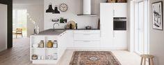 Veda-köket - smart och funktionellt - Kvik.se   Inspiration kökskö med bokhylla och handfat