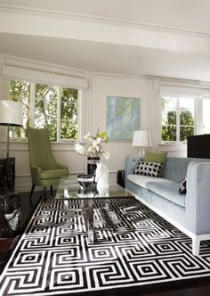 Greg Natale - light blue lounge room, color scheme, black and white, blue and white with a touch of green perfection