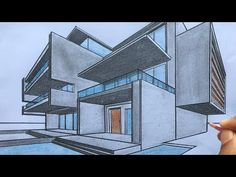 How to Draw a House using Two-Point Perspective - YouTube Architecture Drawing Sketchbooks, Architecture Concept Drawings, Architecture Photo, House Design Drawing, House Drawing, House Sketch, 2 Point Perspective Drawing, Perspective Art, Interior Design Sketches