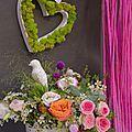 Salon du mariage octobre 2013, coeur en lichen, brassée de fleurs, composition par vert autrement