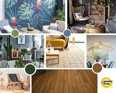 Planche inspiration pour salon et salle à manger. Coloris : camaïeu de verts, bleu-gris et teintes naturelles. Rugs, Design, Home Decor, Blue Grey, Floor, Dinner Room, Living Room, Farmhouse Rugs, Decoration Home
