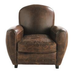 Armchairs on Maisons du Monde. Take a look at all the furniture and decorative objects on Maisons du Monde. Brown Armchair, Brown Leather Recliner Chair, Leather Club Chairs, Leather Sofa, Ikea Armchair, Upholstered Chairs, Metal Dining Chairs, Folding Chairs, Affordable Furniture
