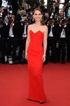 Natalie Portman in a red strapless Dior dress at Cannes 2015