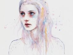 by Agnes Cecile Watercolor Portraits, Watercolor Art, Agnes Cecile, Face Art, Traditional Art, Illustration Art, Art Illustrations, Art Inspo, Art Drawings