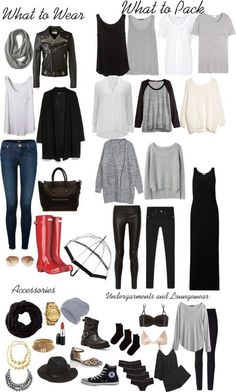 Packing list for Dublin... Would work for Scotland too. i appreciate the minimalist palette.