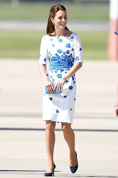 Middleton chose the Lasa Poppy Dress featuring graduated blue flowers at the waistline for her April 19, 2014 visit to the RAAF Base Amberley.