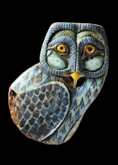 ♔ Faience inlay in the form of an owl ~ Egypt ~ 525-305 B.C.