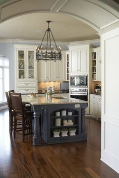 Color combo -The dark blue of cabinets and blue wall