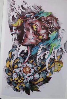 Hanya Mask Tattoo, Oni Tattoo, Lotus Tattoo, Samurai, Japanese Tattoo Art, Japan Tattoo, Masks Art, Irezumi, Tattoo Life