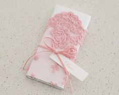 Pink Vintage Lace Personalised Chocolate Bar Christening Bonboniere