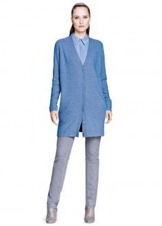 Luxe Merino Cashmere Long Snap Cardigan and Bella Denim Classic Slim Leg Jean