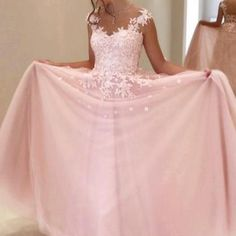 Pink Appliques Prom Dress,Long Prom..