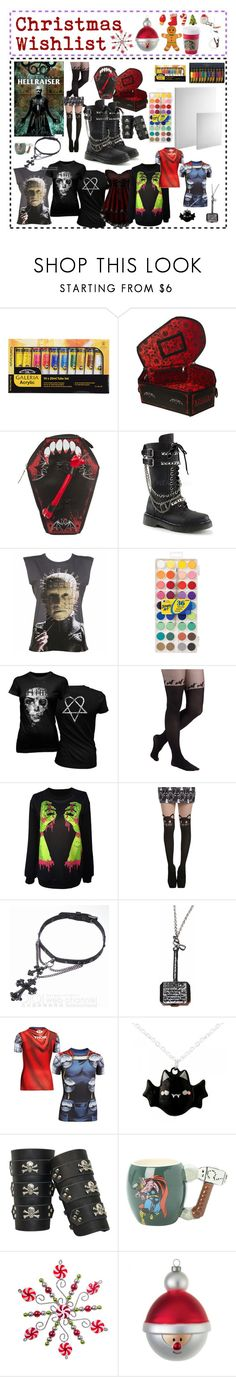 """Christmas Wishlist"" by humanoidalien630 ❤ liked on Polyvore featuring Barker, Demonia, Goodie Two Sleeves, Hot Topic, Marvel Comics, Under Armour, Alessi, Chef'n and Disney"