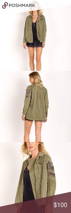 """Free People Embellished Military Jacket Olive Chevron patches at the shoulder signify your status among the ranks of the fashion elite, while an oversized, boyfriend shirt-like fit keeps you looking effortlessly cool in this lightweight olive green utility jacket. - Spread collar - Front button closure with storm flap - Long sleeves - Chest flap-patch pocket - Shirttail hem - Back yoke with box pleat - Approx. 27"""" length (size S) - Imported Free People Jackets & Coats"""