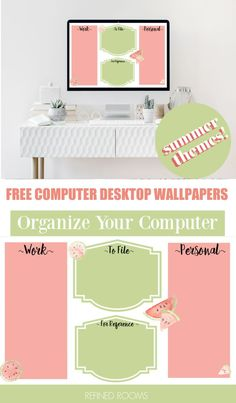 Use these free computer desktop organizer wallpapers to kick digital clutter to the curb! Download these cute summer-themed desktop wallpapers (both labeled and unlabled versions) to organize all… Desktop Organization, Organization Hacks, Home Staging Tips, Wallpaper Free Download, Desktop Wallpapers, Organize, File Folders, Increase Productivity, Decluttering