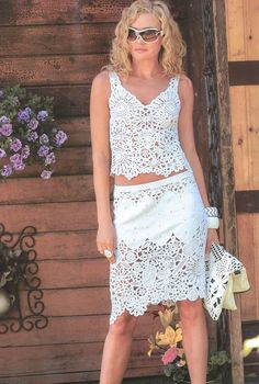 CROCHET FASHION TRENDS exclusive white crochet two-piece summer suit (top & skirt) - made to order