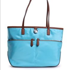 Michael Kors Kempton tote MK Kempton tote bag. Blue color with green color lining. Measures 14.5x9.5x4. Brand new with tags. Pretty color and hard to find!  Michael Kors Bags Totes