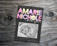 New Born Baby Boy or Girl Announcement Personalize With Your Own Photo Picture Announcement Card by PURPLEgalore, $12.00