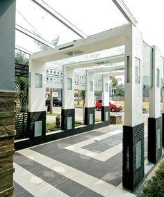 Glass-roofed carport Light - black, white, glass, columns
