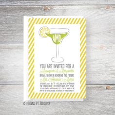 Monograms & Margaritas /// Preppy Monogram /// Bridal or Wedding Shower Invitations by Designs by Nicolina