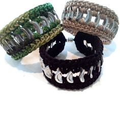 Cuff Friendship Bracelet - Camouflage Green, Beige, Black, Pop Tab