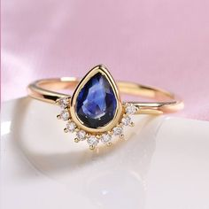 Sapphire engagement ring vintage rose gold Unique Pear shaped Alternative diamond wedding ring Antique Stacking bridal gemstone Anniversary